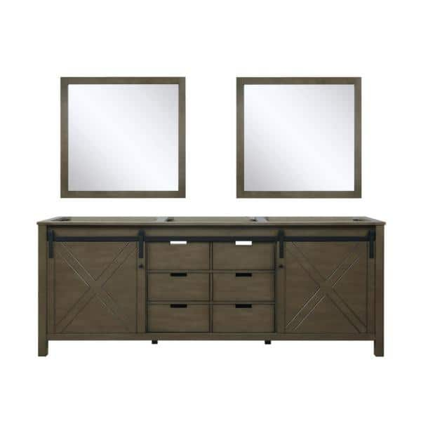 Lexora Marsyas 84 Inch Single Bathroom Vanity Cabinet In Rustic Brown Vanity Base With Mirror Lm342284dk00m34 The Home Depot