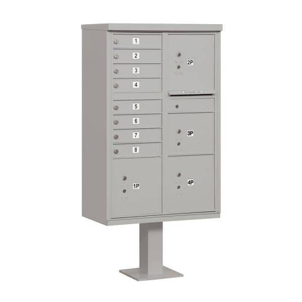 Salsbury Industries 8 A Size Doors 4 Parcel Lockers And Pedestal Usps Access Cluster Box Unit In Gray 3306gry U The Home Depot
