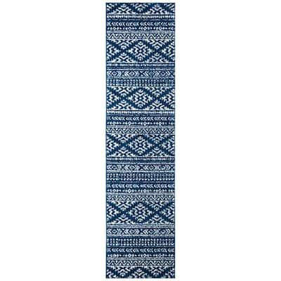 Tulum Navy/Ivory 2 ft. x 13 ft. Runner Rug