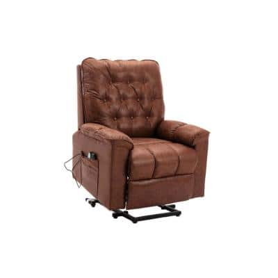 Elderly Heavy Duty Heated Massage Power Lift Recliner Chair with Remote Control and Soft Microfiber Fabric(Brown)