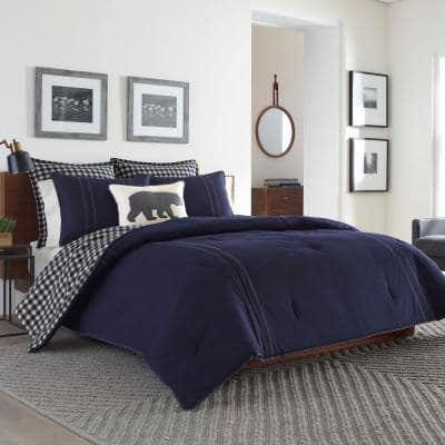 Kingston 2-Piece Navy Plaid Reversible Cotton Twin Duvet Cover Set