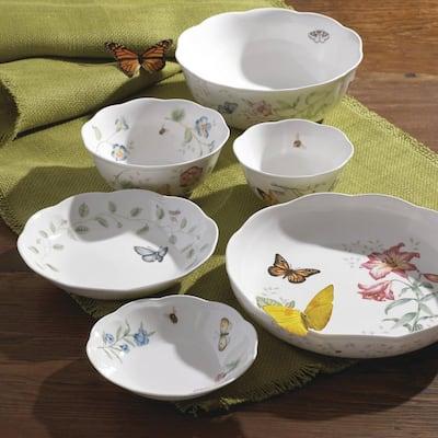 Butterfly Meadow 16 oz. Porcelain Multi Color Rice Bowl
