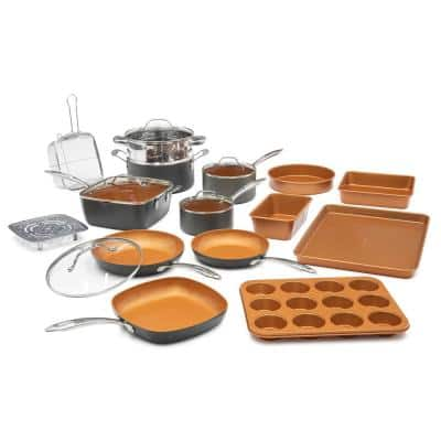 Professional Ti-Ceramic Hard Anodized Ultimate Nonstick 20-Piece Cookware Set
