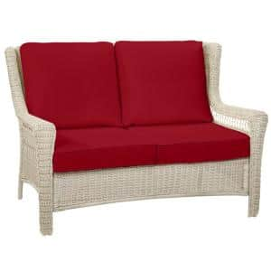 Park Meadows Off-White Wicker Outdoor Patio Loveseat with CushionGuard Chili Red Cushions