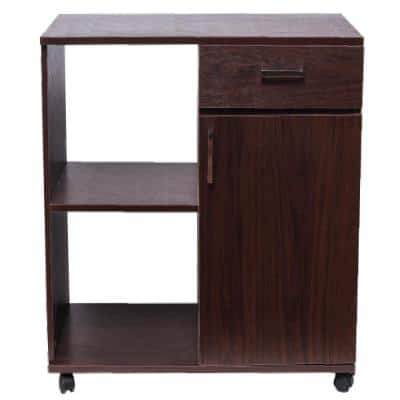 Brown Office File Cabinets with Mobile Printer Stand