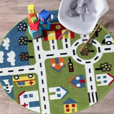 Whimsical City 5 ft. Round Indoor Area Rug