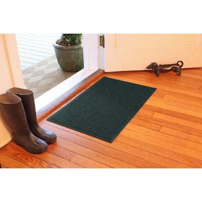 Aqua Shield Squares 23 in. x 35 in. PET Polyester Doormat Evergreen
