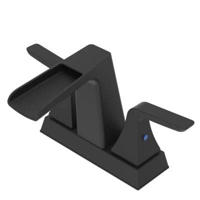 Surface-Mounted 4 in. Centerset 2-Handle High Arc Bathroom Faucet with Drain in Matte Black