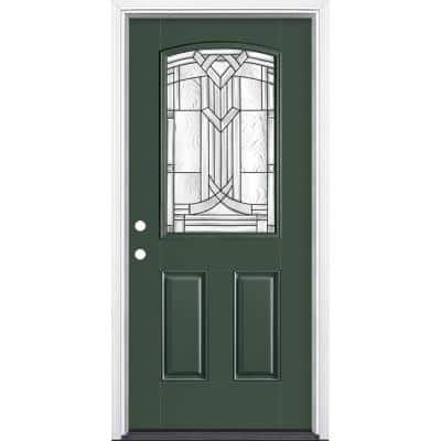 36 in. x 80 in. Chatham Camber 1/2 Lite Right-Hand Painted Smooth Fiberglass Prehung Front Door w/ Brickmold,Vinyl Frame