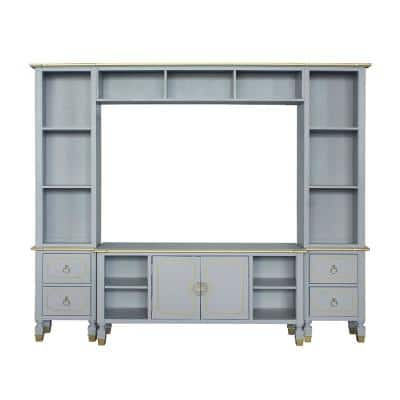 House Marchese 16 in. Pearl Gray Entertainment Center with 2-Drawers Fits TV's up to 65 in. with 3-Tier Shelves