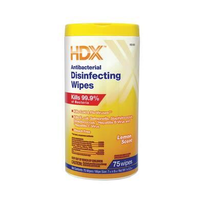 75-Count Lemon Scented Antibacterial Disinfecting Wipes