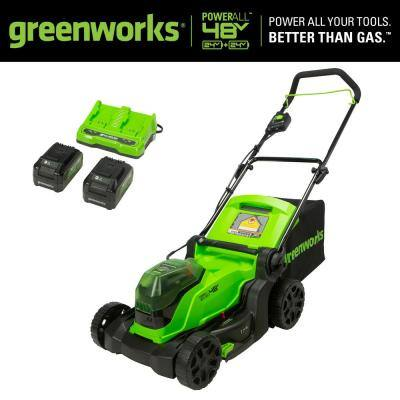 17 in. 48V (2 x 24V) Battery Cordless Walk-Behind Push Lawn Mower with 4.0 Ah Batteries and Dual Port Charger