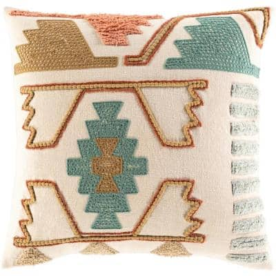 Vuenta Teal Embroidered Polyester Fill 22 in. x 22 in. Decorative Pillow