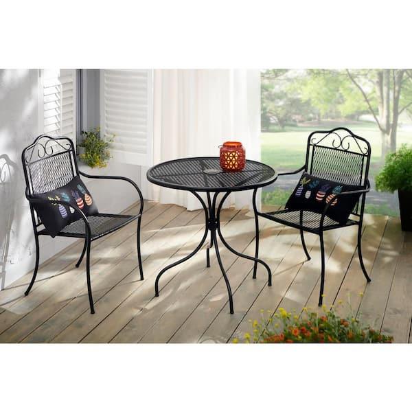 Hampton Bay Nantucket Round Metal, Wrought Iron Patio Furniture End Caps Home Depot