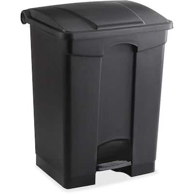 17 Gal. Black Plastic Waste Receptacle with Step On Lid