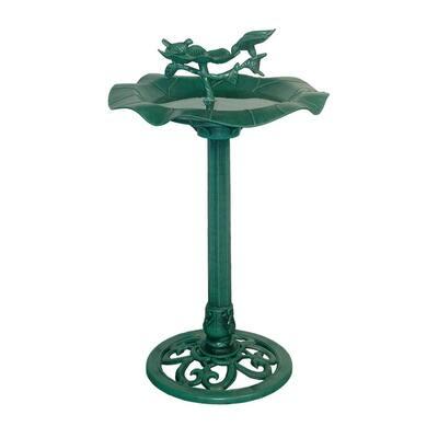 33 in. Tall Outdoor Lotus Birdbath Yard Statue, Green