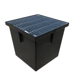13 in. Storm Water Pit and Catch Basin for Modular Trench and Channel Drain Systems with Galvanized Steel Grate