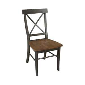 Alexa Hickory / Coal X Back Dining Chair (Set of 2)