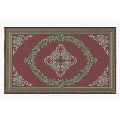 Transitional Living Room with Nonslip Backing, Red Medallion Pattern, 4 ft. x 6 ft. Small Area Rug