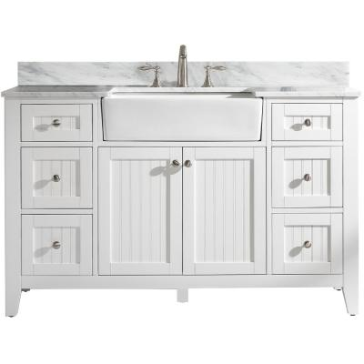 Burbank 54 in. W x 22 in. D Bath Vanity in White with Carrara Marble Vanity Top in White with White Basin