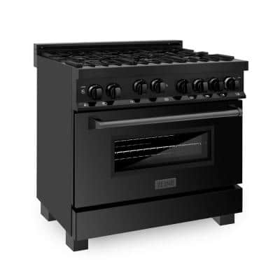 36 in. 4.6 cu. ft. Gas Range with Convection Gas Oven in Black Stainless Steel