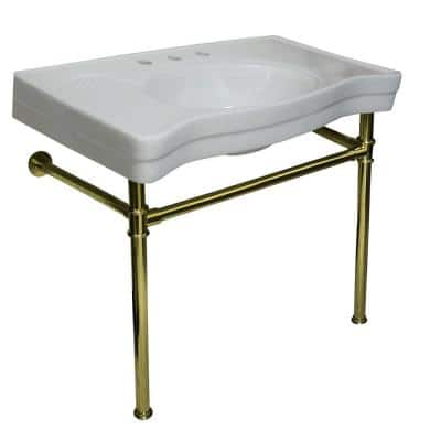 Console Bathroom Sink with Metal Legs in Polished Brass