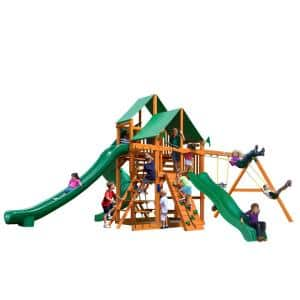 Great Skye II Wooden Swing Set with Green Vinyl Canopy and 3 Slides