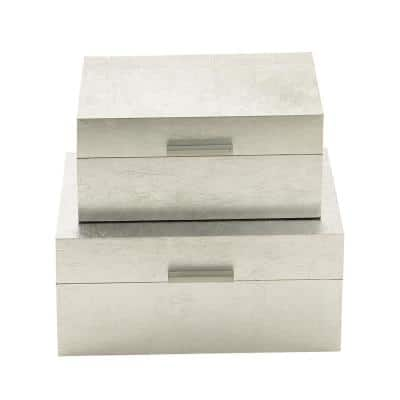 Rustic Silver Rectangular Wooden Boxes with Lids (Set of 2)