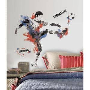 2.5 in. x 18 in. Men's Soccer Champion Peel and Stick Giant Wall Decals