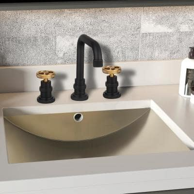 8 in. Widespread 2-Handle High-Arc Bathroom Faucet in Matte Black with Brushed Gold Handle