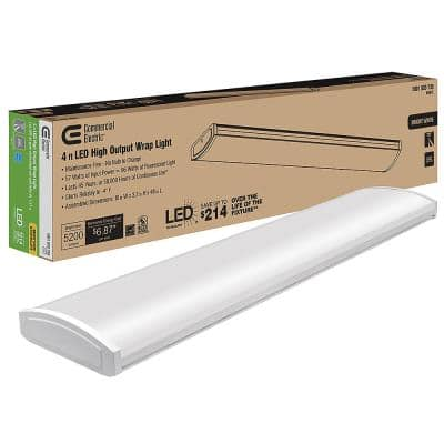 4 ft. High Output 5200 Lumens Integrated LED White Wraparound Light 4000K Bright White 120-277V Energy Star Rated