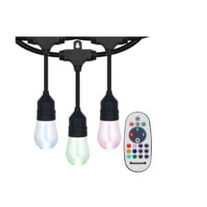 Outdoor/Indoor 48 ft. Plug-In Edison Bulb Color Changing LED String Lights with Remote Control