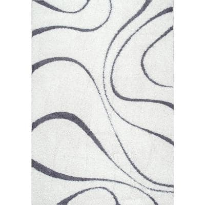 Carolyn Contemporary Curves Shag White 7 ft. x 9 ft. Area Rug