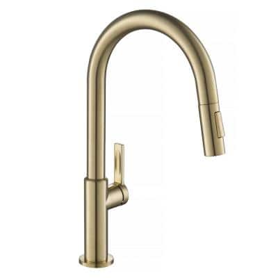 Oletto Single-Handle Pull-Down Sprayer Kitchen Faucet in Spot Free Antique Champagne Bronze