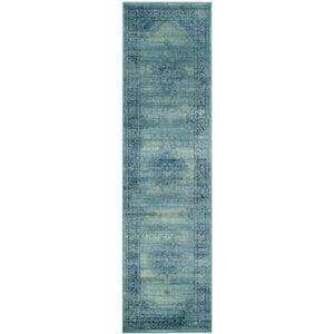 Vintage Turquoise/Multi 2 ft. x 12 ft. Border Runner Rug
