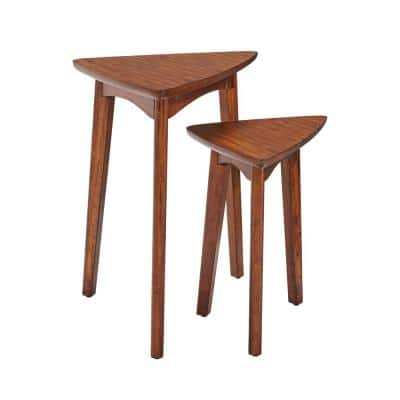 Monterey 24 in. Warm Chestnut Mid-Century Wood Triangular Nesting End Tables (Set of 2)