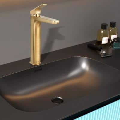 Single Hole Single-Handle Vessel Bathroom Faucet in Brushed Gold