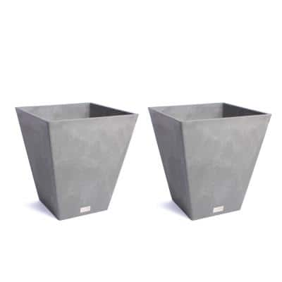 Nobleton 18 in. Charcoal Plastic Square Planter (2-Pack)