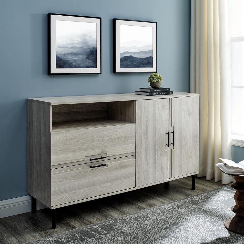 Welwick Designs 56 Modern Detailed Door Frame Sideboard Birch Hd8435 The Home Depot