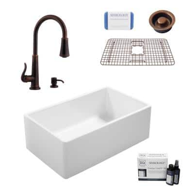 Ward All-in-One Farmhouse Fireclay 33 in. Single Bowl Kitchen Sink with Pfister Bronze Faucet and Disposal Drain