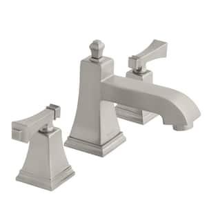 Exhibit 8 in. Widespread 2-Handle Low-Arc Bathroom Faucet in Brushed Nickel