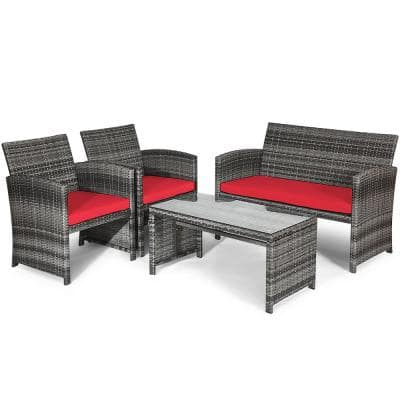 4-Piece Wicker Patio Conversation Set with CushionGuard Red Cushions