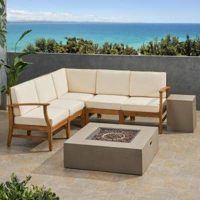 Illona Teak Brown 7-Piece Wood Patio Fire Pit Sectional Seating Set with Cream Cushions