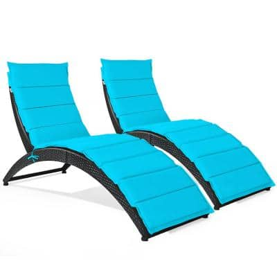 2-Piece Black Frame Metal Reclining Lawn Chair in Turquoise