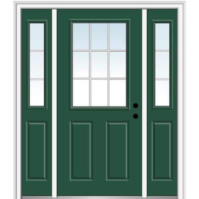 68.5 in. x 81.75 in. Internal Grilles Left-Hand 1/2-Lite Clear Painted Fiberglass Smooth Prehung Front Door w/ Sidelites