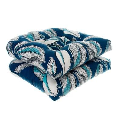 Panama Navy Wicker Square Outdoor Seat Cushion (2-Pack)