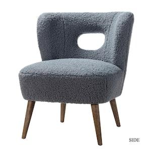 Mini Blue Vegan Lambskin Sherpa Upholstery Barrel Chair