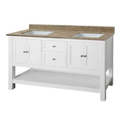 Gazette 61 in. W x 22 in. D Double Vanity in White with Granite Vanity Top in Ornamental Giallo and White Sinks