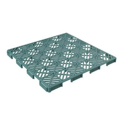 11.5 in. x 11.5 in. Outdoor Interlocking Diamond Polypropylene Patio and Deck Tile Flooring in Green (Set of 6)