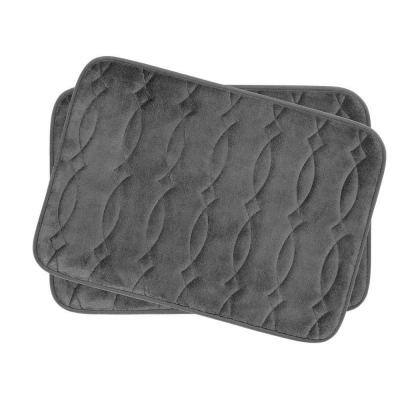 Grecian Dark Gray 17 in. x 24 in. Memory Foam 2-Piece Bath Mat Set
